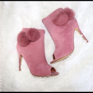 NEW! Pink suede open toed booties!